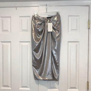 ZARA WOMEN SILVER METALLIC STRAPLESS DRESS XS
